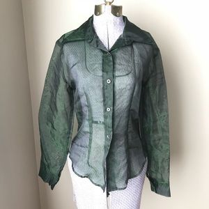 Vtg 90s sheer green blouse small